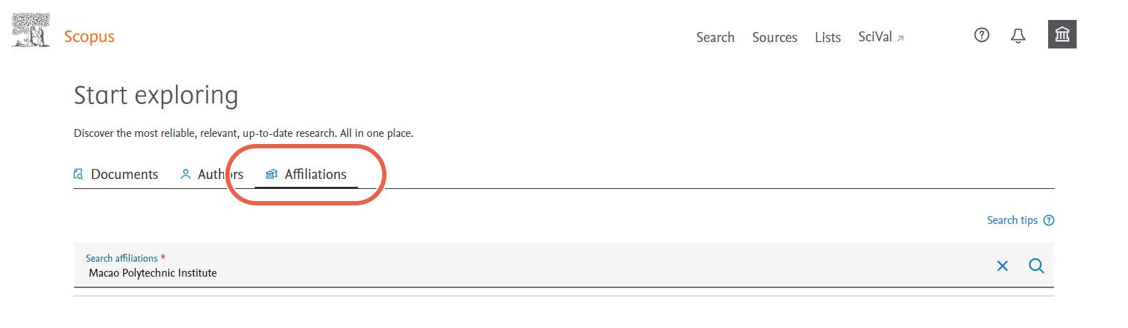 Scopus Search Affiliations Screenshot