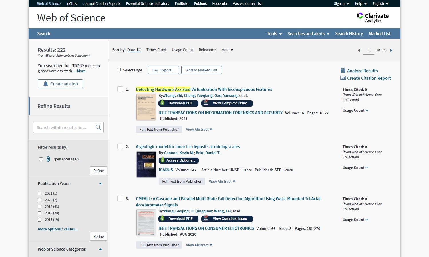 LibKey Nomad Working with Web of Science
